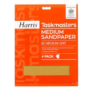 Harris Taskmasters Medium Sandpaper - 4 Pack