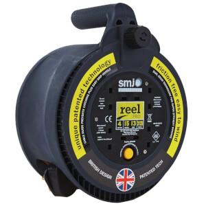 SMJ Reel Pro 4 Socket Cable Reel 15m Black