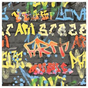 Fresco Graffiti Black Wallpaper