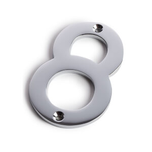 Chrome Screw Fixing House Number - 100mm - 8