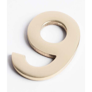 Polished Brass Numeral - Self Adhesive - 60mm - 9