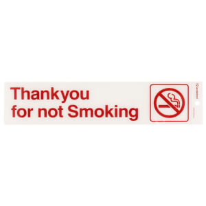 Self Adhesive Thank You For Not Smoking Sign - 245 x 58mm