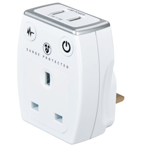 Masterplug Surge USB Charger with Plug Through White