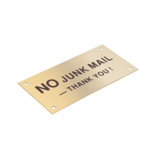 Brass No Junk Mail Sign - 95 x 47mm