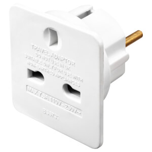 Masterplug UK to Euro Travel Adaptor White 2 Pack