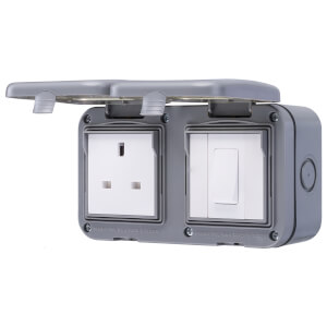 BG 10 Amp 1 Gang 2 Way Weatherproof Switch & 13 Amp 1 Gang Weatherproof Socket IP55 Rated Grey