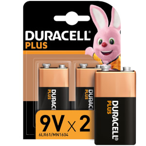 Duracell Plus 9V Batteries - 2 Pack