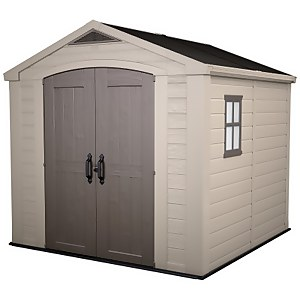 Keter Factor Outdoor Garden Storage Shed 8x8ft  Beige/Brown