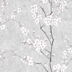 Boutique Sakura Soft Grey White and Pink Wallpaper