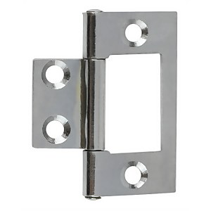 Hafele Flush Hinge - Chrome Plated - 38 x 17mm - 2 Pack