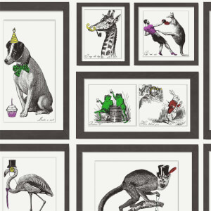Holden Decor Mad Dogs Framed Animals Smooth Multi Coloured Wallpaper