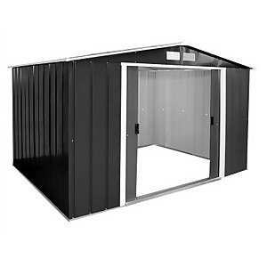 10x10ft Sapphire Apex Metal Shed Anthracite
