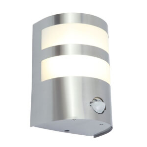 Lutec Cameo 10W LED PIR Wall Light - Silver