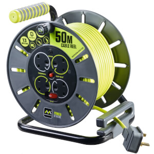Masterplug Pro XT 4 Socket Cable Reel 50m Green/Grey