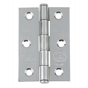 CE7 Button Tip Butt Hinge - Satin Chrome - 75 x 49mm - 2 Pack