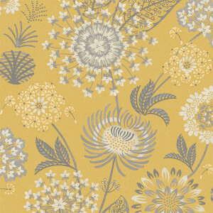 Arthouse Vintage Bloom Floral Smooth Flat Mustard Yellow Wallpaper