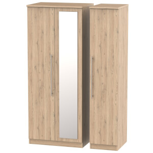 Siena Bordeaux Oak Triple Mirror Wardrobe