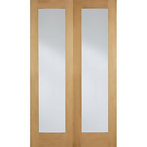 Pattern 20 Internal Glazed Unfinished Oak 1 Lite Pair Doors - 1220 x 1981mm