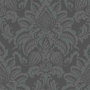 Arthouse Precious Metals Glisten Damask Textured Glitter Gunmetal Grey Wallpaper