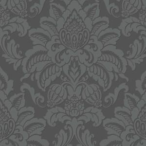 Arthouse Precious Metals Glisten Damask Textured Glitter Gunmetal Grey Wallpaper