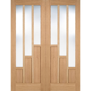 Coventry Internal Glazed Unfinished Oak 3 Lite Pair Doors - 1524 x 1981mm