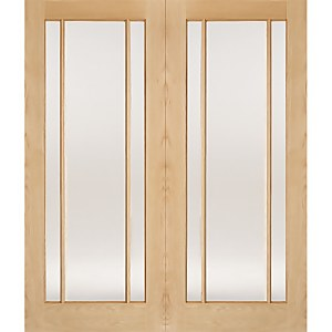 Lincoln Internal Glazed Unfinished Oak 3 Lite Pair Doors - 1220 x 1981mm