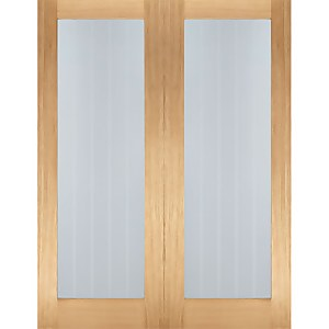 Mexicano Internal Glazed Unfinished Oak 1 Lite Pair Doors - 1524 x 1981mm