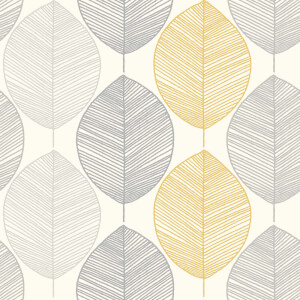 Arthouse Scandi Leaf Smooth Glitter Yellow and Grey Wallpaper