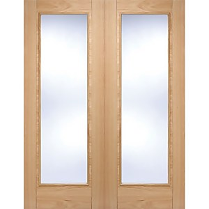 Vancouver Pattern 10 Internal Glazed Prefinished Oak 1 Lite Pair Doors - 1220 x 1981mm