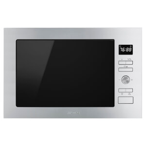 Smeg FMI425S Cucina Silver Glass Built-in Microwave Oven with Grill complete with Frame - 25 litres