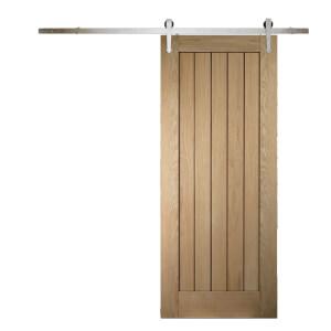 Cottage Oak Sliding Barn Door with Provincial Track 2073 x 862mm