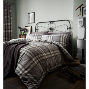 Catherine Lansfield Kelso Easy Care Double Duvet Set - Charcoal