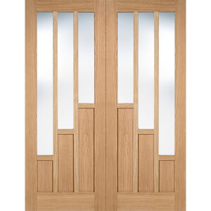 Coventry Internal Glazed Prefinished Oak 3 Lite Pair Doors - 1067 x 1981mm