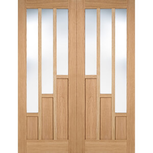 Coventry Internal Glazed Prefinished Oak 3 Lite Pair Doors - 1220 x 1981mm