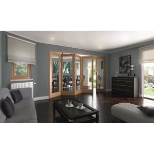 Shaker Oak 1 Light Clear Glazed Interior Folding Doors 4 x 1 2047 x 3538mm