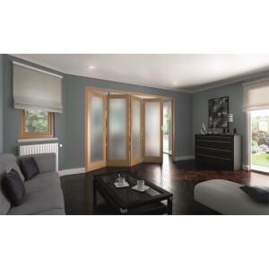 Shaker Oak 1 Light Obscure Glazed Interior Folding Doors 4 x 0 2047 x 2849mm