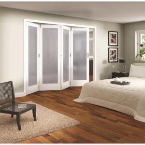 Shaker White Primed 1 Light Obscure Glazed Interior Folding Doors 4 x 0 2047 x 2849mm