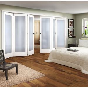 Shaker White Primed 1 Light Obscure Glazed Interior Folding Doors 3 x 3 2047 x 4227mm