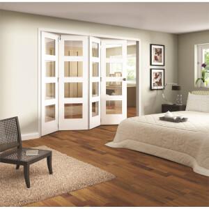 Shaker White Primed 4 Light Clear Glazed Interior Folding Doors 4 x 0 2047 x 2545mm