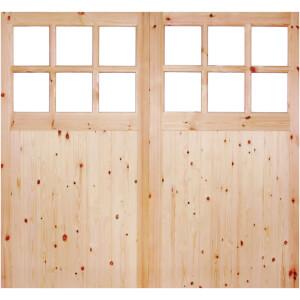 External Glazed Unfinished Redwood 12 Lite Rebated Garage Door Pair - 2135 x 1981mm