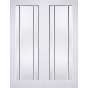 Lincoln Internal Glazed Primed White 3 Lite Pair Doors - 1372 x 1981mm