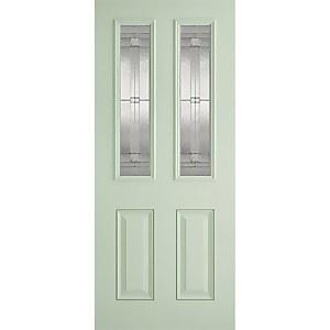 Malton External Glazed Light Green GRP 2 Lite Door - 813 x 2032mm