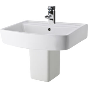 Balterley Optic 1 Tap Hole Basin and Semi Pedestal - 520mm