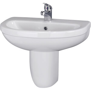 Balterley Vito 1 Tap Hole Basin and Semi Pedestal - 550mm
