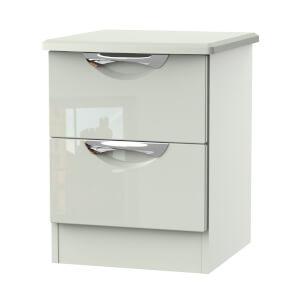 Portofino Kaschmir Gloss 2 Drawer Bedside Cabinet