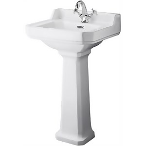 Balterley Harrington 1 Tap Hole Basin and Pedestal - 500mm