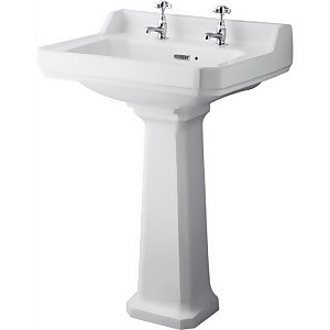 Balterley Harrington 2 Tap Hole Basin and Pedestal - 600mm