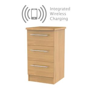 Siena Modern Oak 3 Drawer Bedside Cabinet - Rechargeable