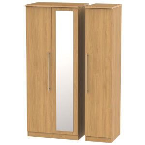 Siena Modern Oak Triple Mirror Wardrobe