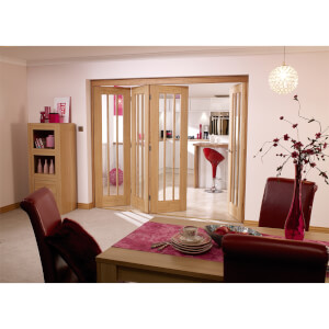 NuVu Roomfold Internal Unfinished 4 + 1 Oak Folding Sliding Door Kit - 3502 x 2078mm